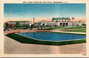 VTG 1930's Union Station Railroad Railway Post Office Washington DC Postcard