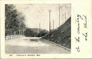 Vtg RPPC - 1906 Trolley Line to Huntington MA - Springfield Mass Transit Cancel