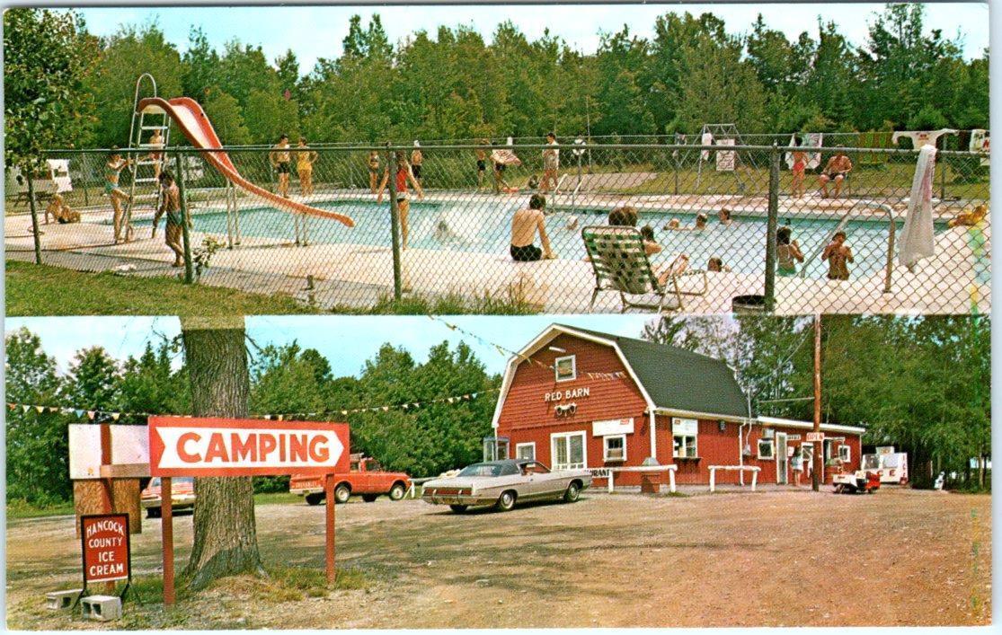 HOLDEN, Maine ME Roadside RED BARN TRAVEL TRAILER Park c1970s