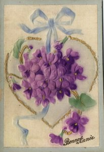 PC CPA WOVEN SILK, HEART WITH FLOWERS AND TIE, VINTAGE SILK POSTCARD (b15099)