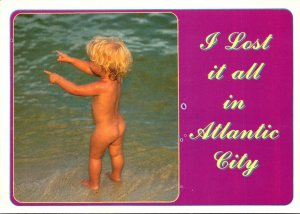 New Jersey Atlantic City Greetings With Naked Child At Beach
