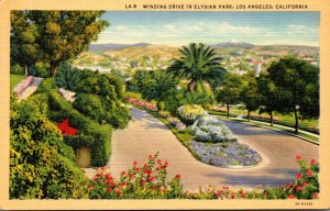 California Los Angeles Winding Drive In Elysian Park 1939 Curteich