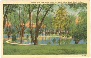 Leeper Park and Bridge along St. Joseph River, South Bend, Indiana, unused linen