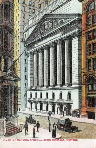 J.P. Morgan's Office and Stock Exchange, New York , Early Postcard, Unused