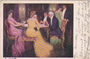 Romantic Couple Playing Cards Hearts 1906