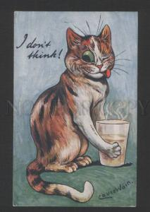 119814 Smiling CAT w/ Glass by Louis WAIN vintage TUCK 8614 PC