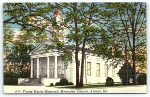 Postcard GA Athens Young Harris Memorial Methodist Church Vintage Linen R19