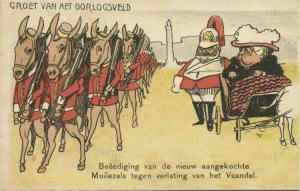 BOER WAR, Caricature, Queen Victoria Swears some new bought Mules in (1899)