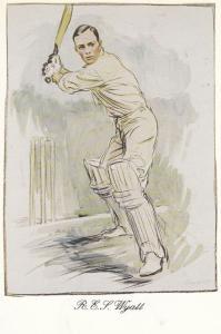 Robert Wyatt Warwickshire Cricket Rare Artist Painting Victory History Postcard