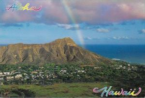 Hawaii Oahu Rainbow Over Diamond Head