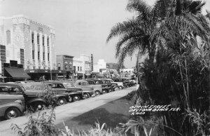 Daytona Beach FL Beach Street Storefronts Old Cars Real Photo Postcard