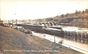 Seattle WA Government Locks on Lake Washington Robbins-Tillquist RPPC Postcard