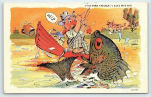 Postcard Comic Exaggerated Fish Curt Teich I Had Some Trouble to Land This One