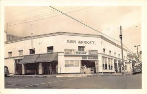 Hawaii Main Market Street View Coca-Cola Sign Old Car RPPC Postcard