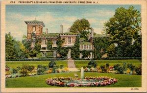 Vtg 1930s Princeton University Presidents Residence New Jersey NJ Linen Postcard