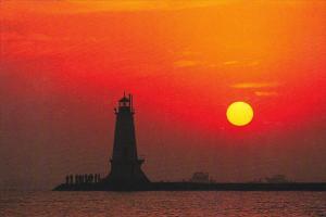 Ludington Lighthouse At Sunset Ludington Michigan