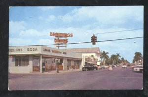 HOMESTEAD FLORIDA DOWNTOWN STREET SCENE DURG STORE OLD CARS VINTAGE POSTCARD