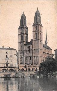 Switzerland Old Vintage Antique Post Card Gross Munster Church Aurich Unused