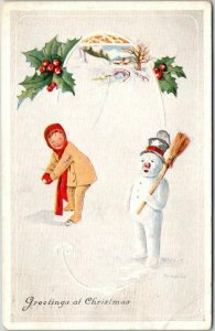 Vintage 1915 CHRISTMAS Greetings Embossed Postcard Snowball Fight / Snowman