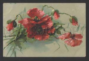 118307 POPPY Flowers Bouquet by C. KLEIN vintage Colorful PC