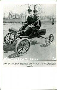 Vtg Postcard RPPC 1940s Wilmington DE - Early Automobile on Wilmington Street