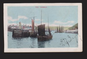ISLE OF MAN - Peel Harbour Old Boats - 1910s - Unused But Writing On Front