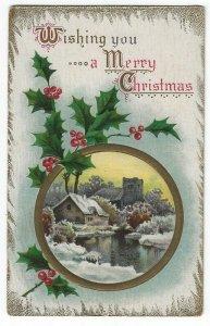 Vintage Christmas Greetings Postcard, House & Church in Winter, Holly & Berries