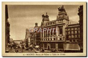 Old Postcard Madrid Banco Bilbao Calle Alcala