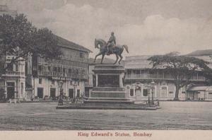 King Edwards Statue Bombay India Indian Antique Postcard