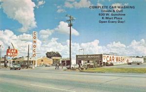 Springfield MO Auto-Magic Car Wash Conoco Gas Station Old Cars Postcard