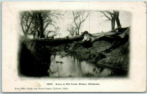 Hobart, Oklahoma Postcard Scene on ELK CREEK Woman on Fallen Tree 1909 Cancel