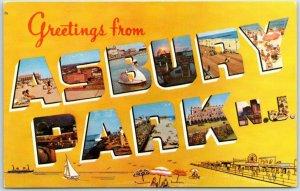 ASBURY PARK New Jersey Large Letter Postcard Chrome #APK1 c1950s Unused