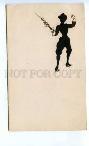 293905 RUSSIA FENCING girl silhouette hand-drawn Vintage folding postcard