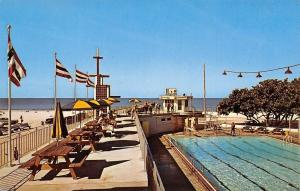 Clearwater Beach FL Diver @ Swimming Pool Lanes~7-Up Clock~Picnic Tables 1950s