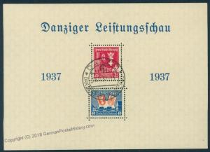 Danzig 1937 Leistungsschau Souvenir Sheet Mi Block 3 Used 51061