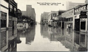 Louisville KY~3rd & Chestnut Streets~Mitchell & White Used Car Dealer~1937 Flood