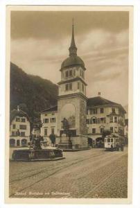 RP  Trolly car in Altdorf, Switzerland, 1910s   Dorfplatz mit Telldenkmal