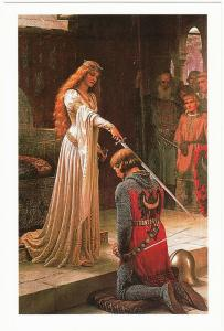 93bd36d67c7d8 The Accolade by Edmund Leighton Knight in Chain Mail Armor Art Postcard