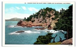 Rugged Coast on Point Lobos, Carmel Bay in Distance, CA Postcard