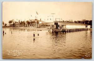 Green Bay Wisconsin~Bay View Beach Pavilion & Bath House~Waterfront~c1915 RPPC