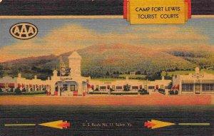 Camp Fort Lewis Tourist Courts Motel US 11 Salem Virginia linen postcard