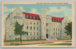 Lawrence Kansas~University Snow Hall~Vintage Postcard