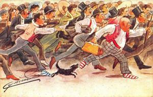 Artist Cynicus Running Scotsmen Dog Postcard
