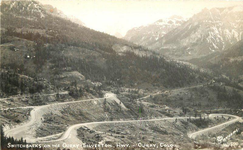 Colorado 1940s Switchbacks Ouray Silverton Highway Sanborn RPPC real photo 5730