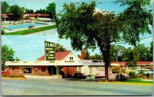 Flint, Michigan Postcard ELMS MOTOR LODGE 2701 So. Dart Hiway Roadside c1950s