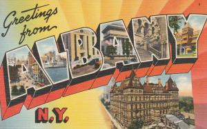 Greetings from Albany NY, New York - Linen Large Letter