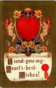 VTG Postcard Valentine My Heart's Best Wishes Gary Minnesota Unposted 1183