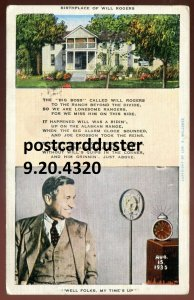 4320 - OOLOGAH Oklahoma Postcard 1943 Actor Will Rogers Birthplace