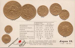 Japanese Yen Coins Coin Japan Flag Embossed Unused MH Berlin Schbg Postcard E81