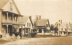 Kingfield ME L. L. Mitchell Drug Store Storefront Horse Real Photo Postcard